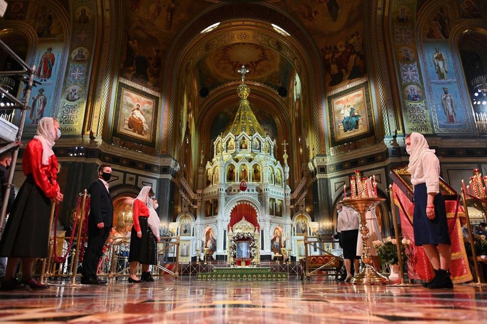 Christ-Erlöser-Kathedrale vor der Ostermesse